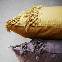 Ochre Yellow Fringed Cotton Cushion