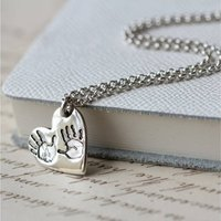 Hand Or Foot Print Heart Pendant On A Chain