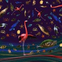 Framed Flamingo Handrawn Illustration Collage Print