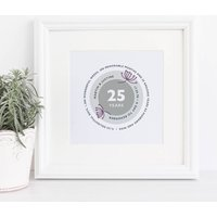 Silver Wedding Anniversary Personalised Print