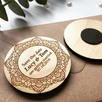 Circle Lace Effect Wooden Save The Date Magnet