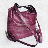 Melanie Leather Handbag And Backpack Plum Red