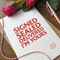 'Signed Sealed' Letterpress Valentines Card