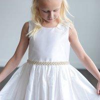 Ivory Silk Or White Satin Flower Girl Dress