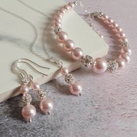 Ella Pink Pearl Bridal Jewellery Set