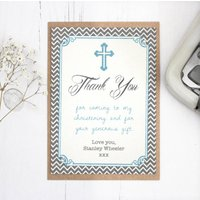 Personalised Christening Thank You Card, Blue/Grey/Pink