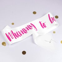 Contemporary Mummy To Be Sash, Bright Pink/Pink/Gold