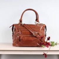 Tan Leather Shoulder Bag, Burgundy/Red/Grey