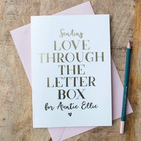 Foil 'Love Through The Letterbox' Personalised Card