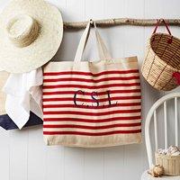 Monogrammed Red Stripe Nautical Beach Bag
