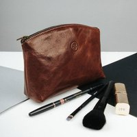 Personalised Maid Of Honour Leather Cosmetic Bag Chia, Chestnut/Tan/Dark Chocolate