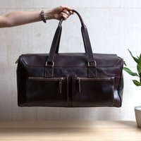Personalised Leather Holdall Weekender  Marron