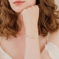 Green Pearl And Crystal Semi Precious Stone Bracelet