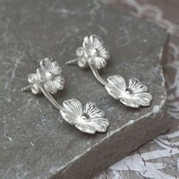 Sterling Silver Two Cosmos Flower Earrings, Silver
