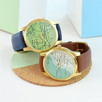 Personalised Map Watch Gold, Gold