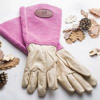 Personalised Gauntlet Gardening Gloves, Brown/Cream