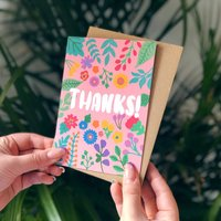 Colourful Floral Card 'Thanks'