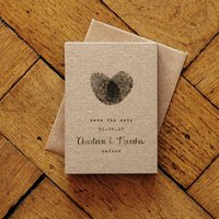 Fingerprint Calligraphy Save The Date Card And Magnet
