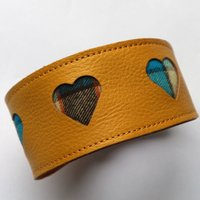 Striking Soft Yellow Leather Collar Heart Cut Outs