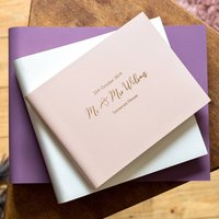 Personalised Leather Bound Wedding Guest Book, Ivory/Peach/Blue