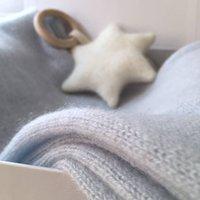 Personalised New Mum Cashmere Shrug And Teether Giftset, Lavender/Cornflower Blue/Blue