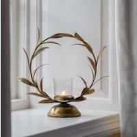 Antique Gold Wreath Tea Light Holder