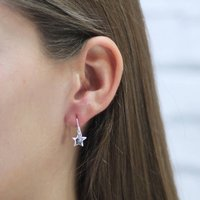 Sterling Silver Star Drop Earrings, Silver