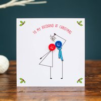 'To My Husband At Christmas' Button Card