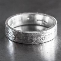 Personalised Sterling Silver 6mm Flat Sand Cast Ring, Silver