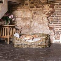 Greywash Rattan Dog Basket And Reversible Mattress
