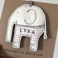 Elephant Felt Embroidered Card Decoration