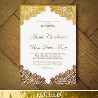 Versailles Foiled Lace Wedding Invitation, Gold/Silver/Rose Gold