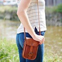 Personalised Mini Leather Messenger Bag