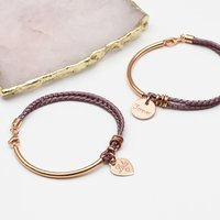 Personalised Silk And Rose Gold Charm Bangle, Gold