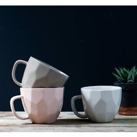 Geometric Cubic Mug, White/Grey/Light Pink