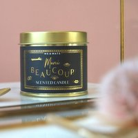 'Merci Beaucoup' Black And Gold Candle Tin
