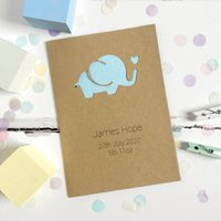 Personalised Elephant New Baby Glitter Cut Out Card, White/Red/Silver