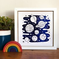 Foil Space And Planets Print, Lilac/Silver/Black