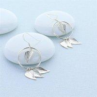 Silver Leaf Statement Earrings, Silver