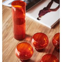 Retro Orange Set Of Four Glasses And Carafe