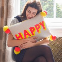 Embroidered Pom Pom 'Happy' Cushion