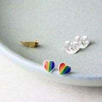 Sterling Silver Rainbow Heart Stud Earrings, Silver