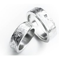 Silver Concrete Ring Set With A 2mm Diamond, Silver
