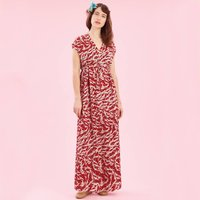 Maxi Dress In Ruby Stork Crepe