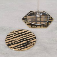 Solid Brass Gold And Black Patterned Drinks Coasters