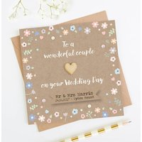 Wedding Day Card Personalised Pastel Floral Kraft