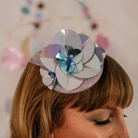 Sequin Flower Metallic Fascinator Lilac Or Blue Xenia