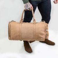 Personalised Leather Columbus Deep Weekender Holdall