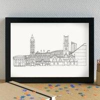 Manchester Landmarks Skyline Art Print Unframed