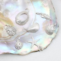 Sterling Silver Sea Shell Charms, Silver
